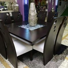 Muebles Wooden Dining Table Designs, Dining Room Furniture Design, Dinning Table Design, Dining Room Table Decor, Kitchen Room Design, Elegant Dining Room, Dining Room Sets, Table Furniture, Dining Chairs