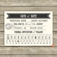 Punch Card Save the Date // Printable Save the Date // Printable Wedding. $9.45, via Etsy.