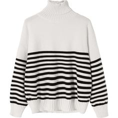 Striped Turtleneck Ribbed Hem Sweater White ($30) ❤ liked on Polyvore featuring tops, sweaters, zaful, turtle neck top, striped turtleneck top, multi stripe sweater, white turtleneck top and turtle neck sweater