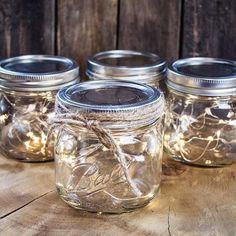 Mason Jar Fairy Lights, Pint Wide Mouth Jar, Warm White Lights, Set of 4 #lightsandDecor