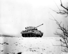 A US M36 tank destroyer during the Battle of the Bulge in Dudelange, Luxembourg - 3 January 1945