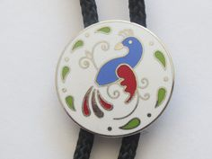 Vintage Hoffman Hex  Enameled Bird Pheasant Grouse Pidgeon  Multi Colored  Mosaic Bolo Tie
