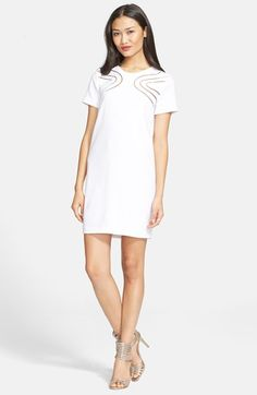 Free shipping and returns on Diane von Furstenberg 'Cecilia' Ladder Stitch Shift Dress at Nordstrom.com. Swirls of ladder stitching detail an otherwise minimally styled shift that affords another glimpse of skin at the back keyhole.