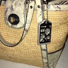 Authentic COACH Limited Edition Bag ONE WORD...Gorgeous !!:)Snake with Silver TrimZebra Fabric Inside!! Coach Bags Totes