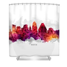 Austin Texas Cityscape 14 Shower Curtain by Aged Pixel