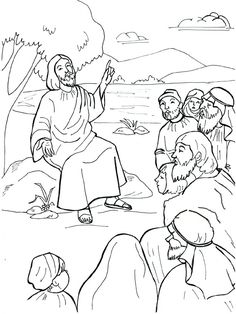 jesus preaching coloring page | Sermont on the Mount Coloring Pages