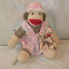 Vintage Girl Sock Monkey Baby Dress Pink Brown Knit Stuffed Animal 13 | eBay