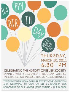 Relief Society Birthday-invite inspiration