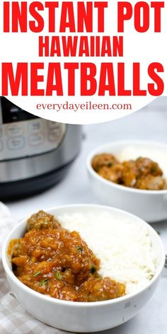 Instant Pot Hawaiian Meatballs, delicious homemade meatballs that are loaded with flavor and easy to put together. They are topped with an easy bbq and pineapple sauce for a dinner in under 30 minutes. Serve with rice. They make a wonderful appetizer, pot luck, and game day snack. #instantpotmeatballs #hawaiianmeatballs #instantpothawaiianmeatballs #gamedaysnack #everydayeileen Yummy Appetizers, Appetizer Recipes, Party Appetizers, Dinner Recipes, Instant Pot Pressure Cooker, Pressure Cooker Recipes, Hawaiian Meatballs, Pineapple Sauce, Hawaiian Sweet Rolls