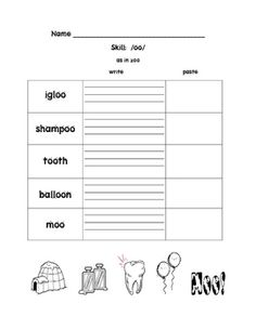 This is an activity to do while you are teaching the /oo/ skill.  After introducing it you can give your students this cut and paste activity that ...