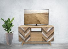 Our new art deco inspired recycled teak media centers are perfect for a wide range of styles from rustic to contemporary.  An attractive & versatile addition to any home, they can be used as a TV stand, console, cabinet, and more.  #rustic #furniture #teak #homedecor #mediacenter #tvstand #rusticfurniture