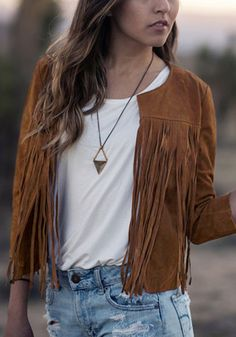 This fringed brown suede blazer features an open front, full lining and is non-stretchable. | Lookbook Store