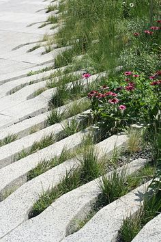 Blended soft and hard landscaped surfaces
