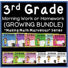 3rd Grade Daily Math Morning Work/Homework -Days 1-135, so far, GROWING BUNDLE ***GROWING Bundle- This means you get 9 sets now and 3 sets more to come! That means you are only paying for 9 sets but will receive the next 3 sets for FREE! HUGE Savings!