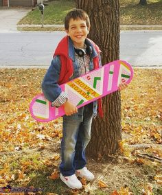 This is my son Austin, he is 11 and loves the Back to the Future movies. He was watching it in September and realized this is the year they came to in the future. He decided he wanted to be Marty Mcfly and his little. Teen Boy Costumes, Diy Costumes For Boys, Twin Costumes, Homemade Costumes, Marty Mcfly Halloween Costume, Old Halloween Costumes, Halloween Costume Contest, Halloween Kostüm, Costume Works