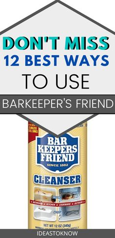 The Bar Keeper's Friend is a classic staple around the house. From cleaning dishes to countertops, it leaves a trail of shine in its wake. These are the best uses of barkeeper's friend in the house or you can say the barkeeper's friend hacks. Cleaning Baking Sheets, Household Cleaning Tips, House Cleaning Tips, Diy Cleaning Products, Cleaning Solutions, Cleaning Hacks, Deep Cleaning, Kitchen Cleaning, Cleaning Recipes