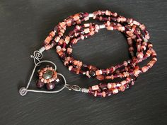 Garnet Labradorite Sunstone Heart Necklace   Angie   Flickr