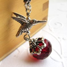 Hummingbird charm necklace with red nectar by CharmedByKaren, $28.00