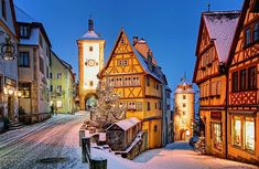 The storybook village of Rothenburg ob der Tauber, Germany . this magical medieval town is found along Bavaria's Romantic Road, and enchants its visitors at Christmastime and throughout the year! Christmas Markets Germany, German Christmas Markets, Christmas In Europe, Christmas Time, Celebrating Christmas, Christmas Scenes, Christmas Villages, Christmas Vacation, Christmas Traditions