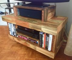 TV stand made from reclaimed pallets, original design