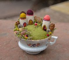 Tiny Fairy Houses and Village, Fairy Garden in a Cup, Needle Felted, Fantasy Houses Teacup Crafts, Felt House, Fantasy House, In The Tree, Fairy Houses, Felt Art, Felt Animals, Pin Cushions, Felt Crafts