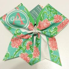 Bows by April - Aqua Pink and Green Floral Custom Monogram Glitter Cheer Bow, $22.00 (http://www.bowsbyapril.com/aqua-pink-and-green-floral-custom-monogram-glitter-cheer-bow/)