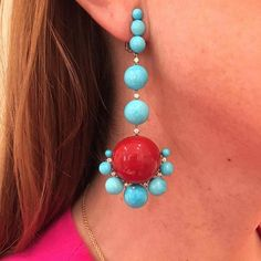 SABBA Turquoise, Coral and Diamond Ear Pendants  #FDGallery_SOLD #sabbajewels