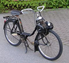 Velosolex Moped - as a clutch you have lever that puts the engine (0,7 hp) on the front tyre. A french classic