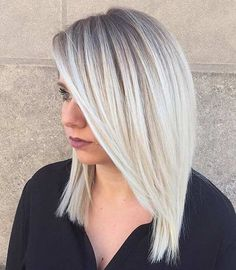 Straight Ice Blonde Lob Haircut