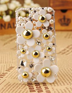 White little daisy  blingbling crystal cover cell phone case  for apple iphone 4s case  Free Shipping to USA. $19.99, via Etsy.