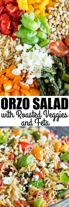 An incredibly delicious Orzo Pasta Salad with lemon, feta cheese, and lots of roasted vegetables. It tastes gourmet but it's so easy to make! via @culinaryhill