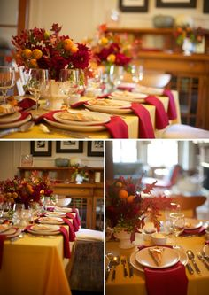 Thanksgiving tables -- nice way to do napkins