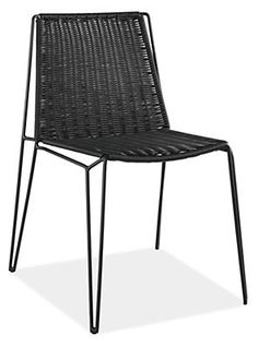 The Penelope outdoor dining chair brings a modern, architectural look to your outdoor space. Durable, waterproof plastic is woven across a stackable powder-coated steel frame with hairpin-style legs. Designed by Casprini, the Penelope collection is available exclusively at Room & Board.