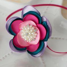 Bold Jewel Tones Satin Flower Headband- Skinny Elastic or Hard Plastic Interchangeable.
