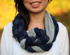Braided Infinity Scarf in Gray and Blue/Gray Stripes by NakatSoy