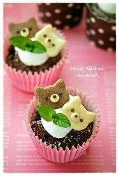 Sweets* ネコちゃんカップケーキ|レシピブログ