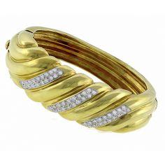 1.60ct Round Cut Diamond 14k Yellow Gold Bangle