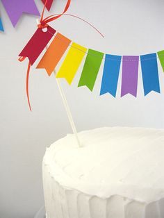 Rainbows Flags Cake Topper