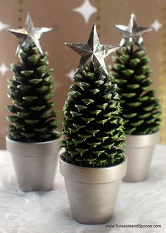 Make adorable Pine Cone Christmas Trees with this tutorial by Scissors and Spoons. @Meghan Bruzzone how fun for your kiddos...they could decorate the pot and tree if you spray painted them all green first
