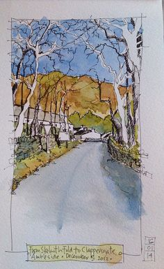 Clappersgate, near Ambleside by John Harrison, artist Watercolor Sketchbook, Watercolor Projects, Artist Sketchbook, Pen And Watercolor, Watercolor Landscape, Watercolor Illustration, Watercolor Paintings, Fashion Sketchbook, Watercolours