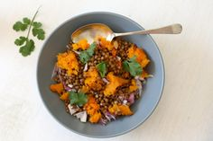Grilled Butternut and Lentil Salad. A delicious spicy flavorsome salad with grilled butternut squash and lentils. Grilled Butternut Squash, Roasted Butternut, Legumes Recipe, Dinner Party Recipes, Lentil Salad, Healthy Salad Recipes, Healthy Meals, Easy Meals, Summer Salads
