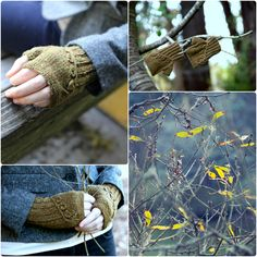 Twigs and Willows Mitts, from Botanical Knits 2: Lightweight, cropped fingerless mitts with a leafy branch gracefully extending over the back of the hand. Designed to coordinate with the Twigs and Willows cardigan from Botanical Knits.