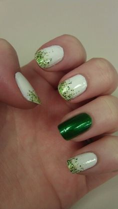 Beautiful bunny on green grass , green nails design