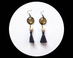 Boucles d'oreilles ethnique bronzes coquillage cauri et
