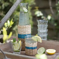 Striped Sea Grass Carafe  ~ perfect for cucumber water.  #candigardenparty