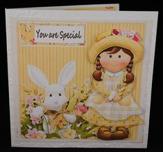 bunny love card on Craftsuprint designed by Cynthia Berridge - made by Yvonne Middleton - Printe3d on 135 gsm paper, I cut out all of the elements and decoupaged using foam pads, I then mounted the image onto the card using dst. This is a very cute design. - Now available for download!