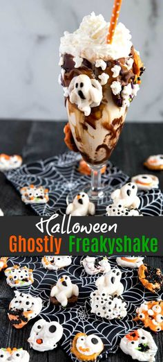 Ghostly Freakyshake - Creamy vanilla milkshake with caramel, chocolate sauce, sprinkles and topped with whipped cream. This outrageously fun freakshake is the perfect treat for Halloween! Halloween Desserts, Halloween Appetizers, Halloween Treats, Halloween Foods, Halloween Party, Halloween Recipe, Halloween Drinks, Halloween Table, Halloween Costumes