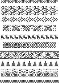 borders, embroidery royalty-free stock vector art Grenzen, Stickerei Lizenzfreies vektor illustration knitting patterns for socks Cross Stitch Borders, Cross Stitch Designs, Cross Stitch Patterns, Knitting Charts, Knitting Stitches, Knitting Patterns, Border Embroidery, Cross Stitch Embroidery, Geometric Embroidery
