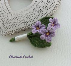 flower brooch, crochet pin, violet flower, romantic gift for her, jewelry