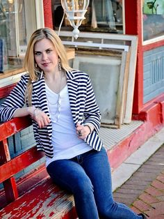 Blue and White Striped Jacket - $48.00 : FashionCupcake, Designer Clothing, Accessories, and Gifts